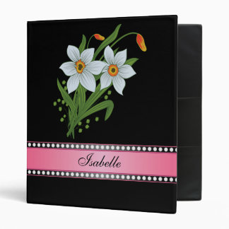 Tulips and Daffodils Pink Personalized Name Binder
