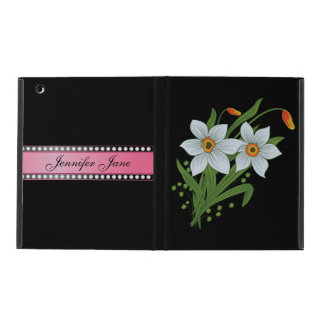 Tulips and Daffodils Pink Personalized Name iPad Case