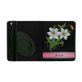 Tulips and Daffodils Pink Personalized Name iPad Cover