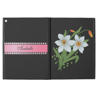 """Tulips and Daffodils Pink Personalized Name iPad Pro 12.9"""" Case"""