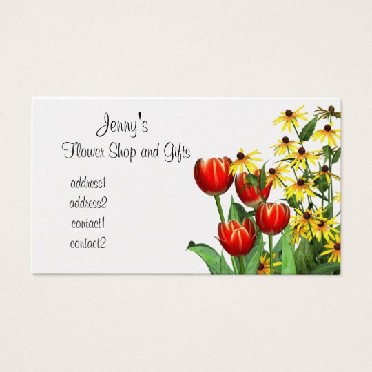 Tulips and Daisies Flower Shop Gift Business Card