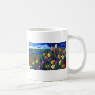 Tulips and Dutch Landscape: Original Painting Coffee Mug