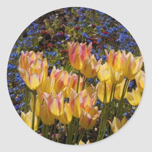 Tulips and Forget-me-nots Classic Round Sticker
