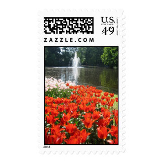 Tulips and fountain postage
