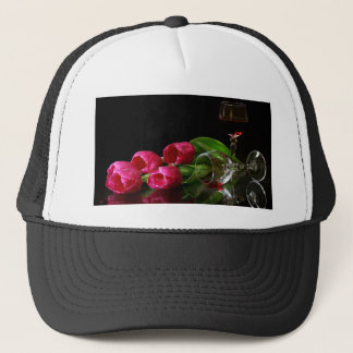 Tulips and Goblets Of Wine Trucker Hat
