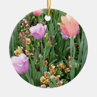 Tulips and Pansies Double-Sided Ceramic Round Christmas Ornament