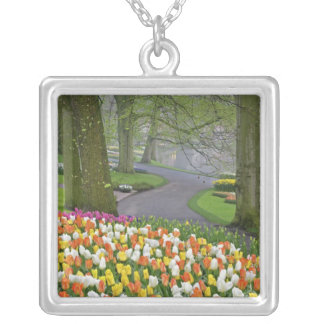 Tulips and roadway, Keukenhof Gardens, Lisse, Silver Plated Necklace