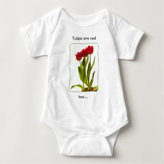 """""""Tulips are red too..."""" - Photograph of Three Red Baby Bodysuit"""