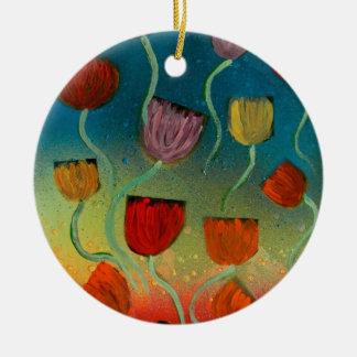 Tulips ascending ceramic ornament