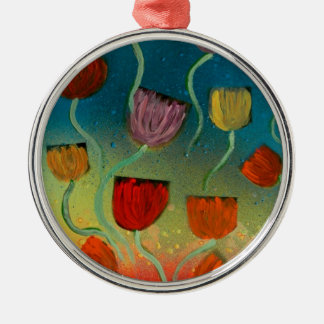 Tulips ascending metal ornament