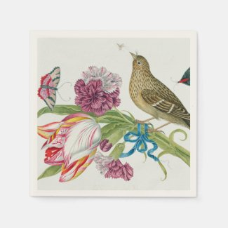 Tulips, Bird Butterfly Fine Art Paper Napkins