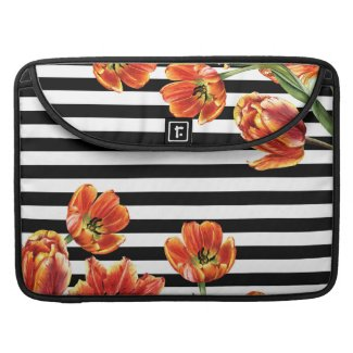 Tulips Black Stripes Chic MacBook Pro Sleeve