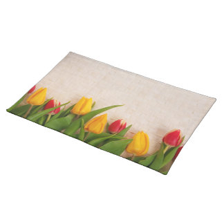 Tulips Blossoms Spring Personalize Cloth Placemat