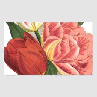 tulips blossoms vintage vines beautiful flowers rectangular sticker