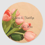 Tulips - Bouquet of Peach-Colored Tulips Classic Round Sticker