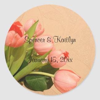 Tulips - Bouquet of Peach-Colored Tulips Round Stickers