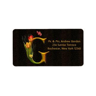 Tulips Butterfly Letter G Monogram Address Labels