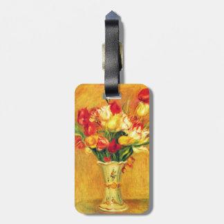 Tulips by Pierre Renoir, Vintage Impressionism Art Bag Tag