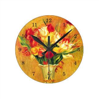 Tulips by Pierre Renoir, Vintage Impressionism Art Round Clock