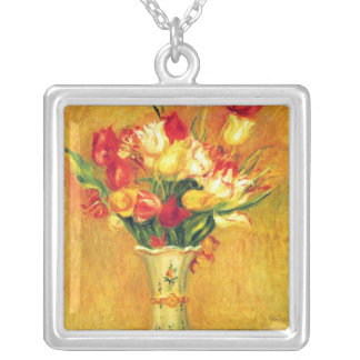 Tulips by Pierre Renoir, Vintage Impressionism Art Silver Plated Necklace