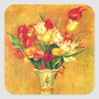 Tulips by Pierre Renoir, Vintage Impressionism Art Square Sticker