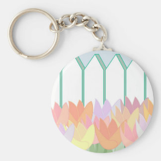 Tulips By The Picket Fence Keychain