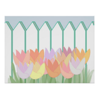 Tulips By The Picket Fence Poster
