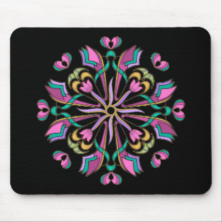 Tulips Circle on Black - Mouse Pad