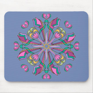 Tulips Circle on Blue - Mouse Pad