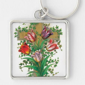 Tulips Cross Silver-Colored Square Keychain