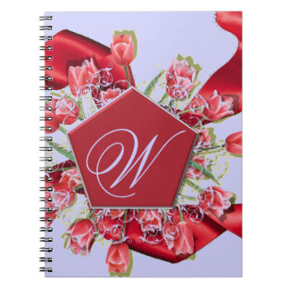 Tulips Custom Monogram Spiral Notebook
