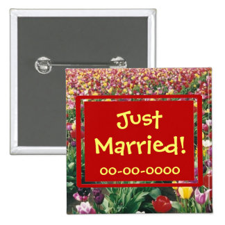 Tulips Customizable Square Just Married Button
