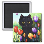 Tulips Cute Black Cat Butterfly Creationarts 2 Inch Square Magnet