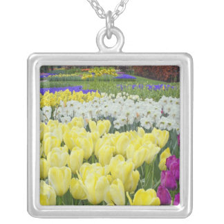 Tulips, daffodils, and Grape Hyacinth flowers, Silver Plated Necklace