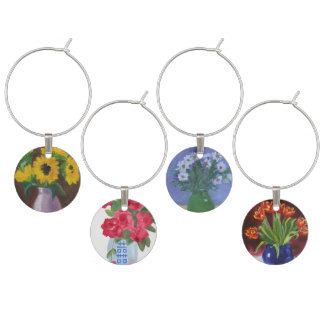 Tulips Daisies Sunflowers Roses Wine Charms