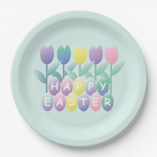 Tulips Easter Eggs Party Plates