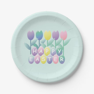Tulips Easter Eggs Party Plates 7in