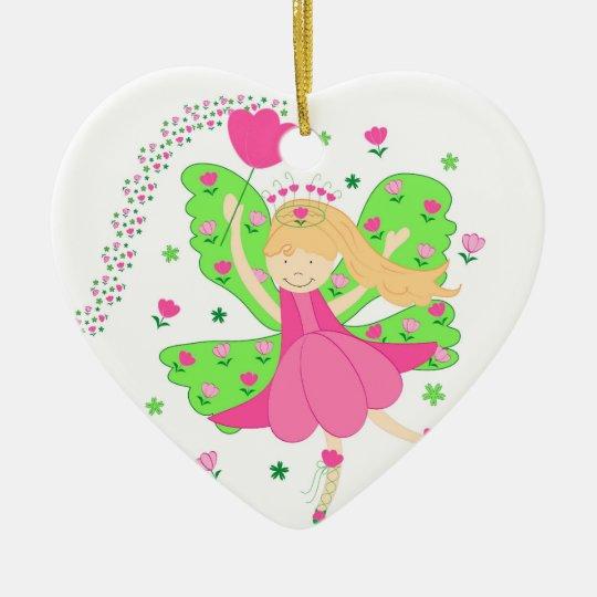 Tulips fairy ceramic ornament