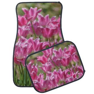 Tulips Field Garden Blossoms Pink Flowers Pastels Car Mat