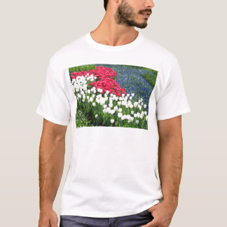 Tulips field in red and white with blue hyacinths T-Shirt