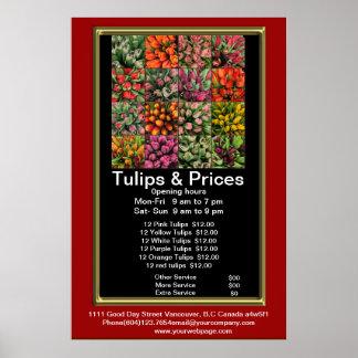 Tulips Flora & Plants shop price list Poster