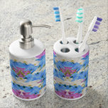 Tulips Floral Colorful  Toothbrush Soap Dispenser