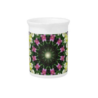 Tulips Flower Mandala, Floral mandala-style Drink Pitcher