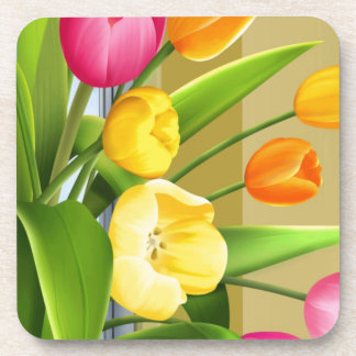 Tulips Flower Spring Vector Picture add text Coaster