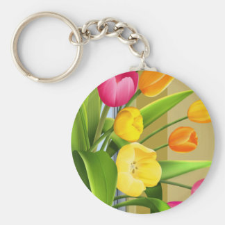 Tulips Flower Spring Vector Picture add text Key Chain