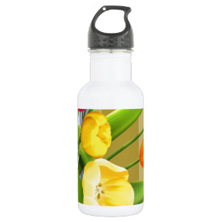 Tulips Flower Spring Vector Picture add text Water Bottle