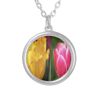 Tulips Flowers Silver Plated Necklace