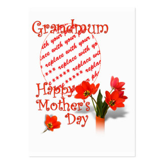 Tulips for Mother's Day For Grandmum PhotoFrame Large Business Cards (Pack Of 100)