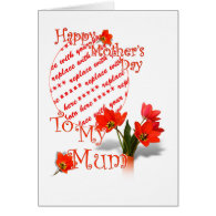 Tulips for Mother's Day For Mum Photo Frame Cards