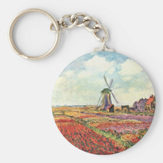 Tulips From Holland By Claude Monet Basic Round Button Keychain
